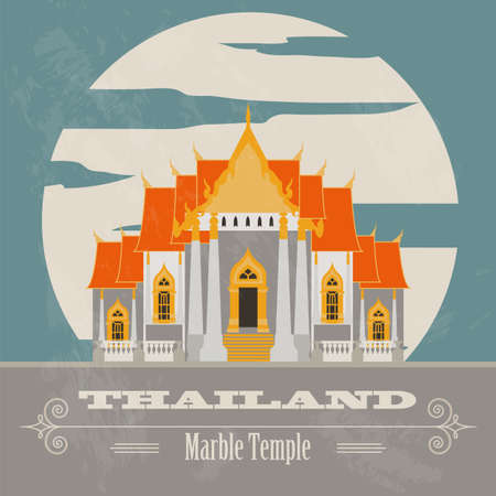 historical landmark: Thailand landmarks. Retro styled image. Vector illustration
