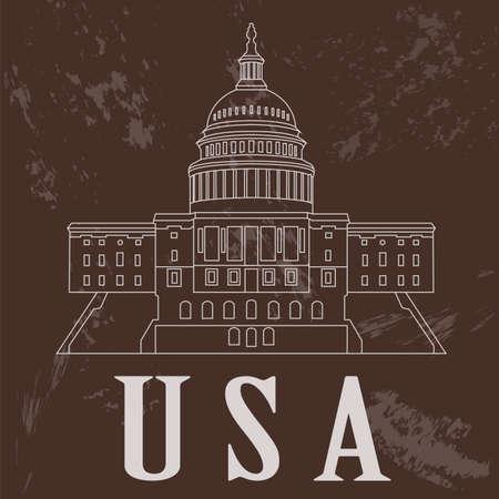 USA landmarks. Retro styled image. Vector illustration Vector