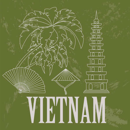 vietnam: Vietnam landmarks. Retro styled image. Vector illustration Illustration