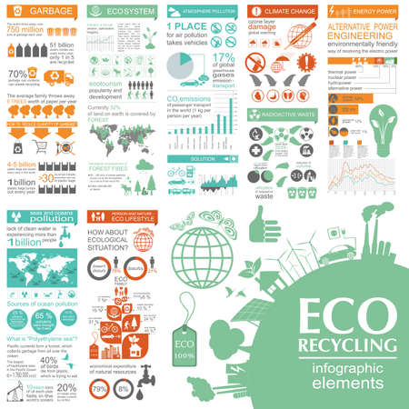 pollution: Environment, ecology infographic elements. Environmental risks, ecosystem. Template. Vector illustration