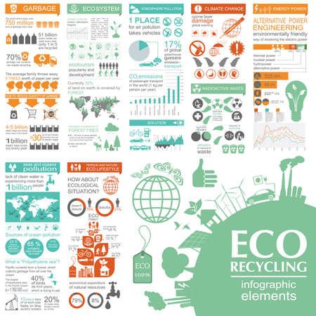 contaminacion ambiental: Medio ambiente, ecología elementos infográficos. Los riesgos ambientales, ecosistema. Plantilla. Ilustración vectorial Vectores