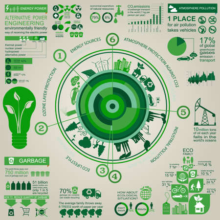 ecosystem: Environment, ecology infographic elements. Environmental risks, ecosystem. Template. Vector illustration