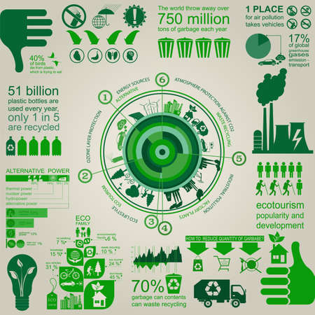 energy symbol: Environment, ecology infographic elements. Environmental risks, ecosystem. Template. Vector illustration