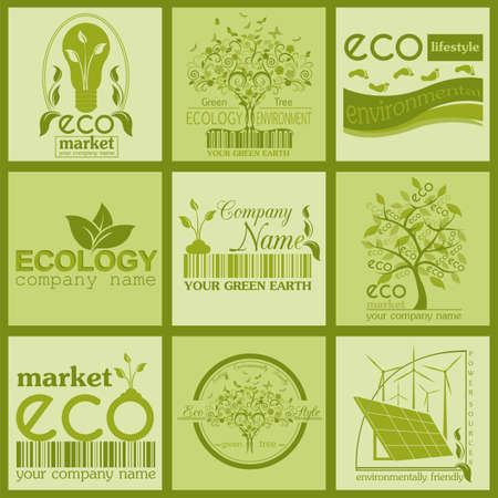 Set of ecology, environment and recycling logos. Vector logo templates and badges Vector