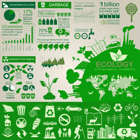 Environment, ecology infographic elements. Environmental risks, ecosystem. Template. Vector illustration Imagens - 35591115