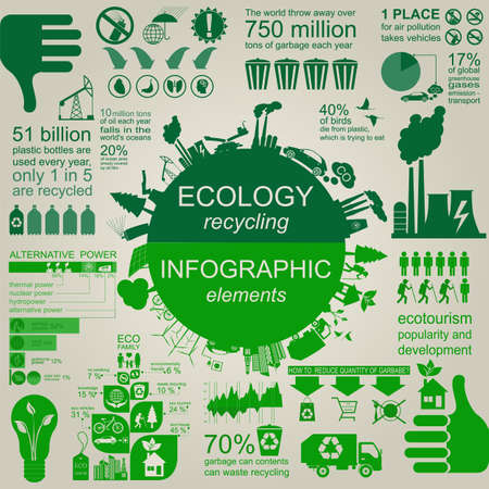 reciclar basura: Medio ambiente, ecología elementos infográficos. Los riesgos ambientales, ecosistema. Plantilla. Ilustración vectorial Vectores