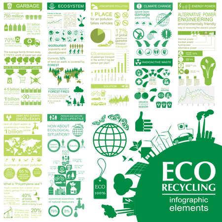 medio ambiente: Medio ambiente, ecolog�a elementos infogr�ficos. Los riesgos ambientales, ecosistema. Plantilla. Ilustraci�n vectorial Vectores