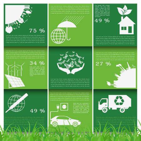 Environment, ecology infographic elements. Environmental risks, ecosystem. Template. Vector illustration