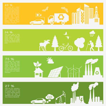 ecology environment: Environment, ecology infographic elements. Environmental risks, ecosystem. Template. Vector illustration