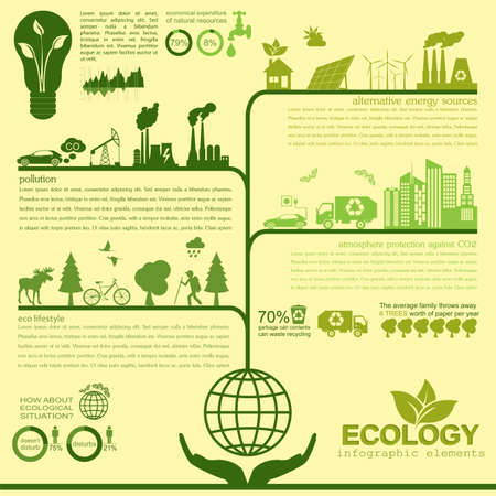 Environment, ecology infographic elements. Environmental risks, ecosystem. Template. Vector illustration