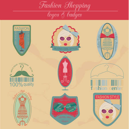Set of vintage fashion and clothes style . Vector  templates and badges Vector