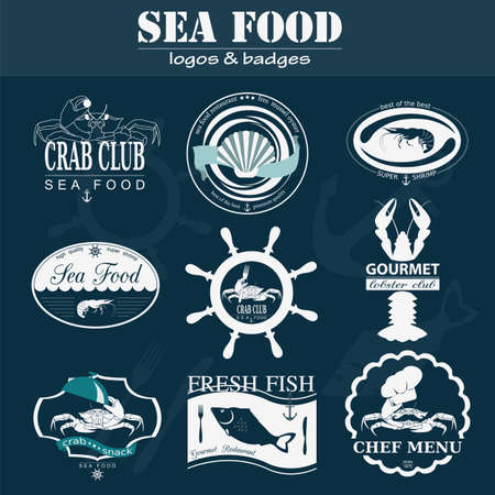 Set of vintage sea food . Vector  templates and badges Vector