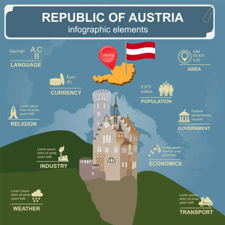 sights: Austria  infographics, statistical data, sights. Vector illustration Illustration