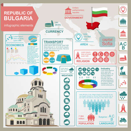 Bulgaria  infographics, statistical data, sights. Vector illustration Illustration