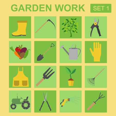 hand trowel: Garden work icon set. Working tools. Vector illustration