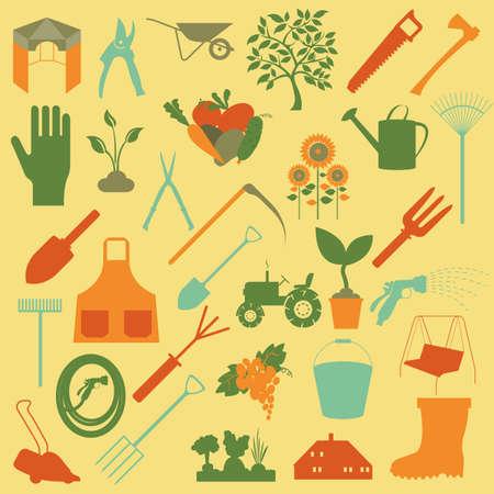 Garden work icon set. Working tools. Vector illustration Vector