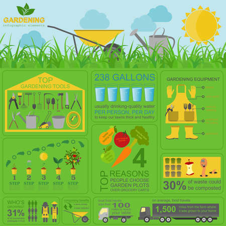 gardening tool: Garden work infographic elements. Working tools set. Vector illustration