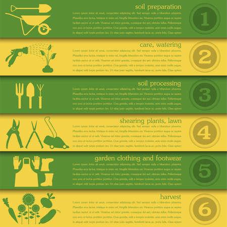 Garden work infographic elements. Working tools set. Vector illustration 版權商用圖片 - 36596078