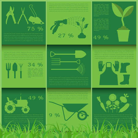 regando plantas: Jard�n funciona elementos infogr�ficos. Herramientas de trabajo creados. Ilustraci�n vectorial
