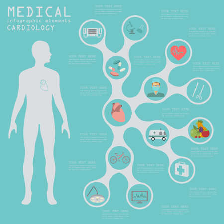 human anatomy: Medical and healthcare infographic, Cardiology infographics. Vector illustration