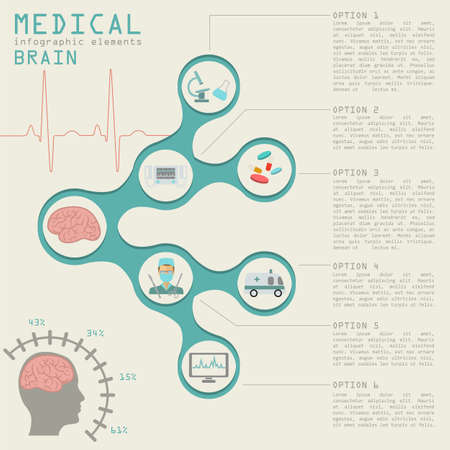 Medical and healthcare infographic, Brain  infographics. Vector illustration Stock Illustratie