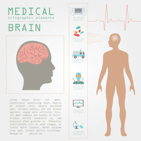 brain injury: Medical and healthcare infographic, Brain  infographics. Vector illustration Illustration