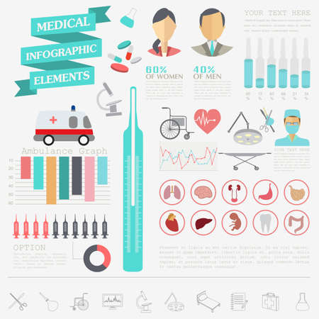human eye: Medical and healthcare infographic, elements for creating infographics. Vector illustration