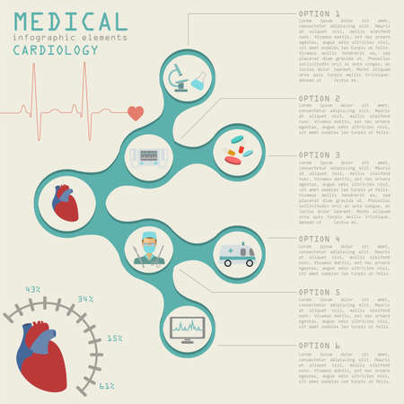 heart attack: Medical and healthcare infographic, Cardiology infographics. Vector illustration