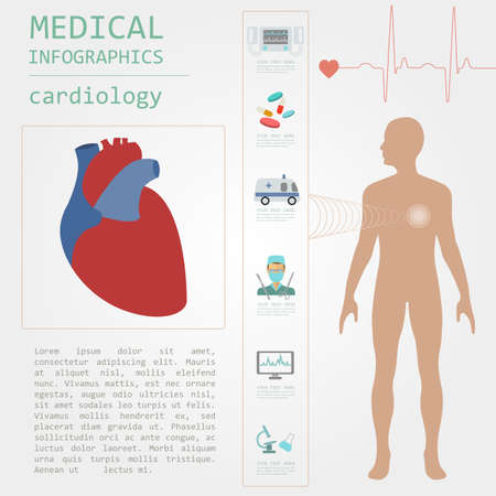 human bodies: Medical and healthcare infographic, Cardiology infographics. Vector illustration