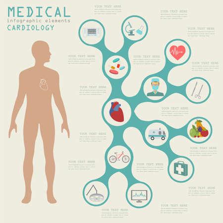 infarto: Infograf�a m�dica y la atenci�n sanitaria, la infograf�a Cardiolog�a. Ilustraci�n vectorial