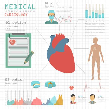 hipertension: Infograf�a m�dica y la atenci�n sanitaria, la infograf�a Cardiolog�a. Ilustraci�n vectorial