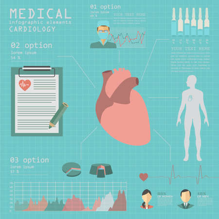 Medical and healthcare infographic, Cardiology infographics. Vector illustration Vector
