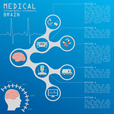 encephalitis: Medical and healthcare infographic, Brain  infographics. Vector illustration Illustration