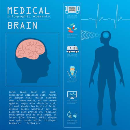 encephalitis: Medical and healthcare infographic, Brain  infographics. Vector illustration Illustration