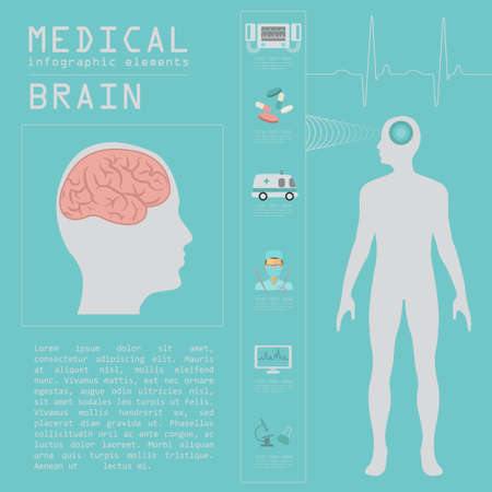 Medical and healthcare infographic, Brain  infographics. Vector illustration Illustration