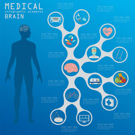 head injury: Medical and healthcare infographic, Brain  infographics. Vector illustration Illustration