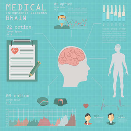 traumatic: Medical and healthcare infographic, Brain  infographics. Vector illustration Illustration