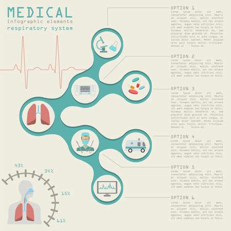 aparato respiratorio: Infograf�a m�dica y la atenci�n sanitaria, la infograf�a del sistema respiratorio. Ilustraci�n vectorial