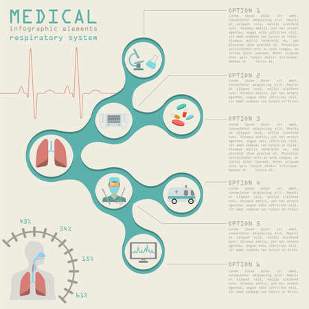 Medical and healthcare infographic, respiratory system infographics. Vector illustration