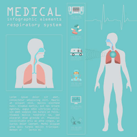 respiratory system: Medical and healthcare infographic, respiratory system infographics. Vector illustration