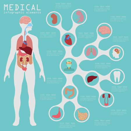 medicamentos: Infograf�a m�dica y cuidado de la salud, los elementos para la creaci�n de infograf�as. Ilustraci�n vectorial