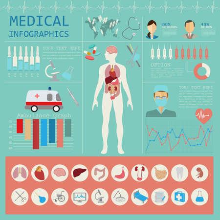 Infografía médica y cuidado de la salud, los elementos para la creación de infografías. Ilustración vectorial