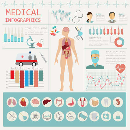 the human body: Medical and healthcare infographic, elements for creating infographics. Vector illustration