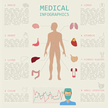 Medical and healthcare infographic, elements for creating infographics. Vector illustration Vector