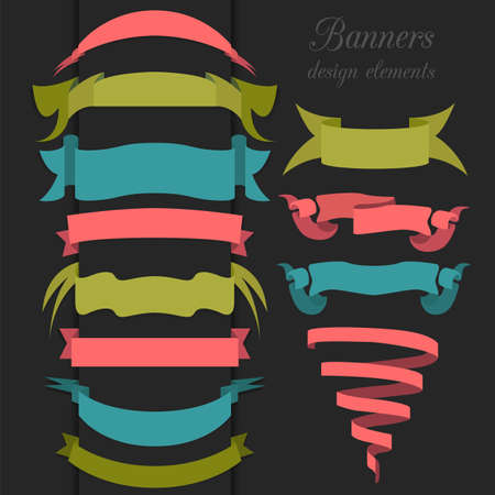 Set of retro ribbons and arrows, banner. Vector illustration Vector