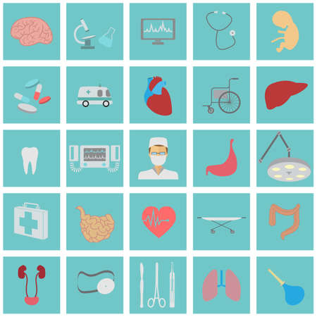 Medical and healthcare icon set. Vector illustration Vector Illustration