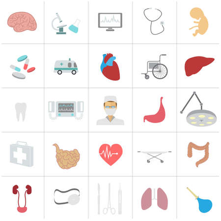 dna graph: Medical and healthcare icon set. Vector illustration