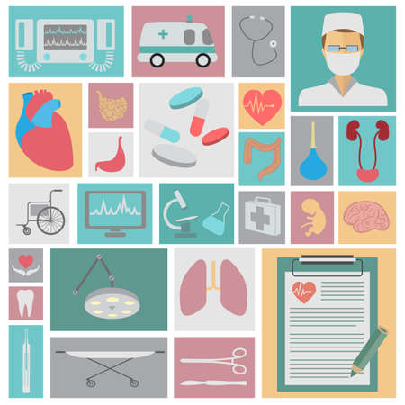 Medical and healthcare icon set. Vector illustration Vector