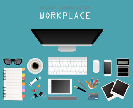 working place: Working place in flat design. Constructor of your own work space. Vector illustration
