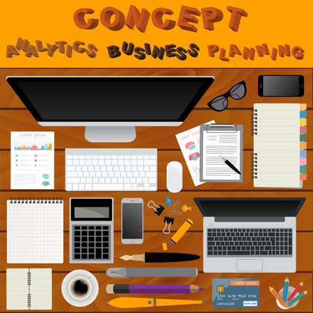 working place: Business meeting. Working place in flat design. Constructor of your own work space. Vector illustration